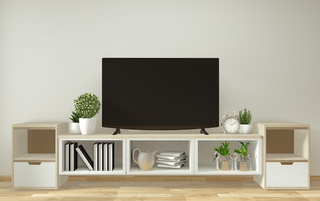 Mockup smart tv , living room with decoration zen style