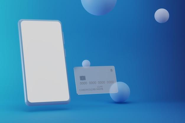 파란색 배경에 모형 스마트폰 및 은행 신용 카드