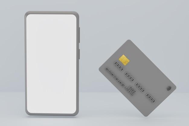 회색 배경에 모형 스마트폰 및 은행 신용 카드