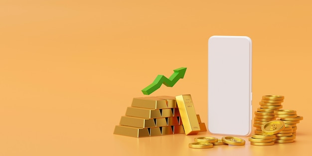Mockup of smartphone with gold and golden coin 3d rendering
