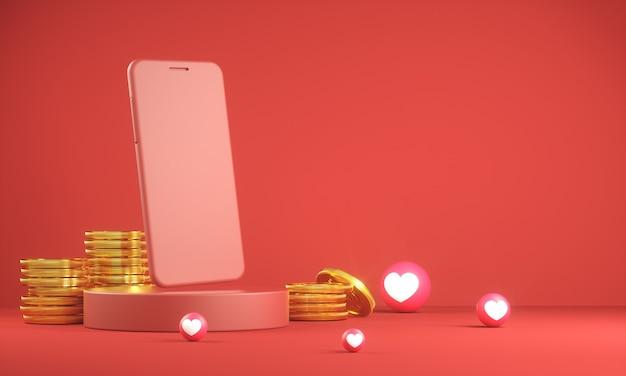 ゴールデンコインとハートの絵文字アイコン3dレンダリングを備えたモックアップスマートフォン