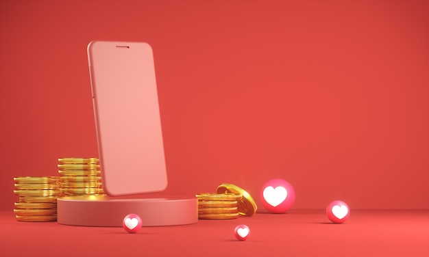 Mockup smartphone with golden coin and heart emoji icon 3d render