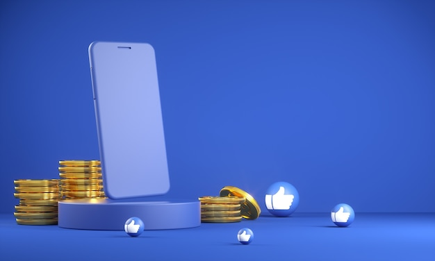 Mockup smartphone with golden coin and like emoji icon 3d render