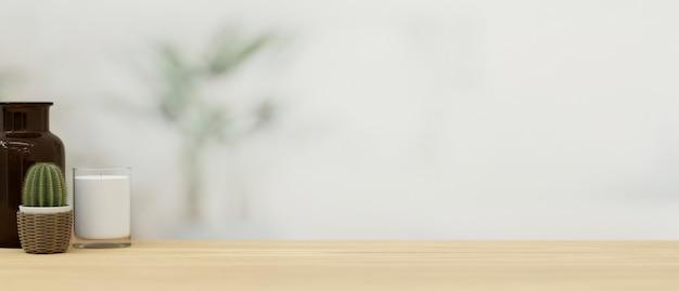 木製の卓上前景3dレンダリングで製品をモンタージュするためのモックアップスペース