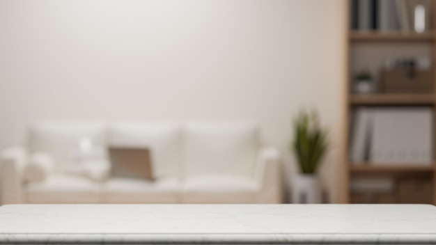Mockup space for montage on tabletop over blurred modern minimalist living room 3d rendering