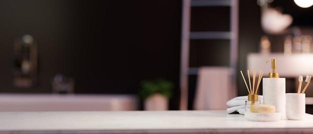 Мокап пространства на мраморной столешнице с роскошными принадлежностями для купания, бутылками с шампунем, мылом, диффузором аромата, зубной щеткой над стильным роскошным интерьером ванной комнаты, 3d-рендеринг, 3d-иллюстрация