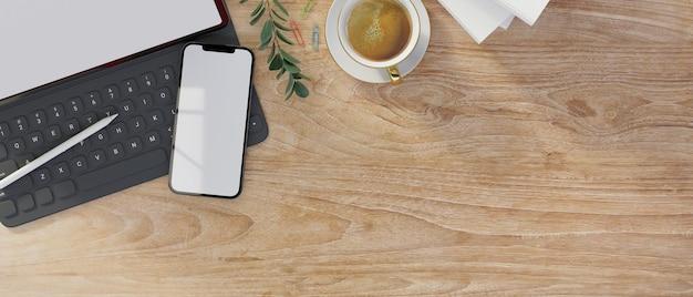 Макет пространства на деревянной поверхности с цифровым планшетом, смартфон, макет, монтаж, 3d-рендеринг