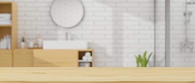 Макет пространства на деревянной столешнице над размытым современным скандинавским интерьером ванной комнаты 3d-рендеринга