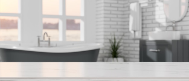 Mockup space on a tabletop over elegant bathroom with a bathtub white brick wall 3d illustration