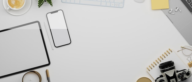 Mockup space on white background surrounded by tablet smartphone equipment 3d rendering