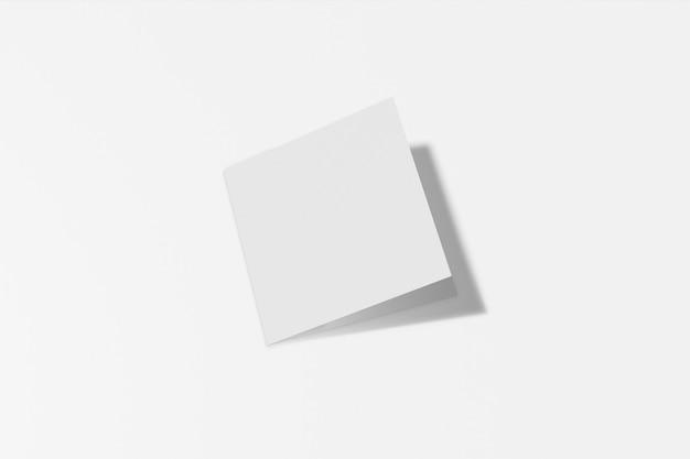 이랑 사각형 책자, 브로셔, 하드 커버와 현실적인 그림자 흰색 배경에 고립 된 초대. 3d 렌더링.