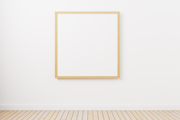 A mockup of a square picture frame on the wall with a minimalist design. 3d rendering