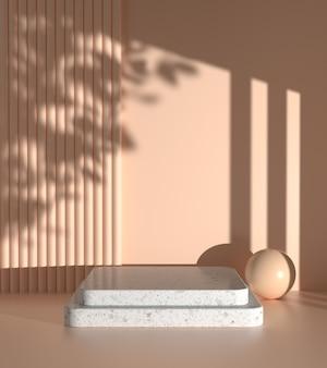 베이지 색 벽에 양산 식물 그림자가있는 현재 제품의 모형 단계 표시