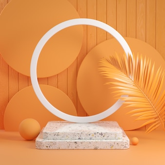 Mockup step stone display with palm leaf on orange abstract background 3d render