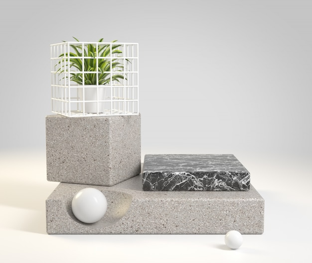 Mockup step stone podium and black marble 3d render