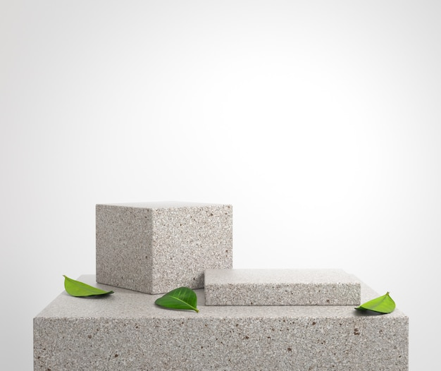 Mockup stone podium platform with green leaves on floor 3d render