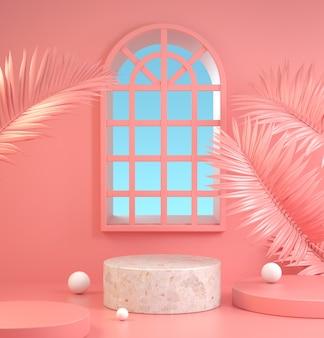 Mockup stone podium and window 3d render