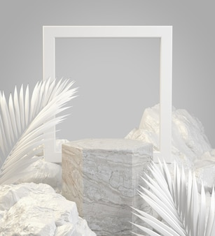 Mockup stone podium with frame and white natural concept abstract background 3d render