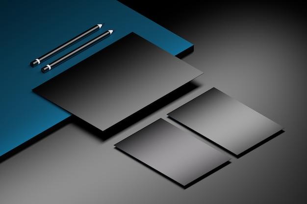 Шаблон макета с листом бумаги формата а4 и двумя визитными карточками на мраморной поверхности с двумя карандашами. 3d иллюстрации
