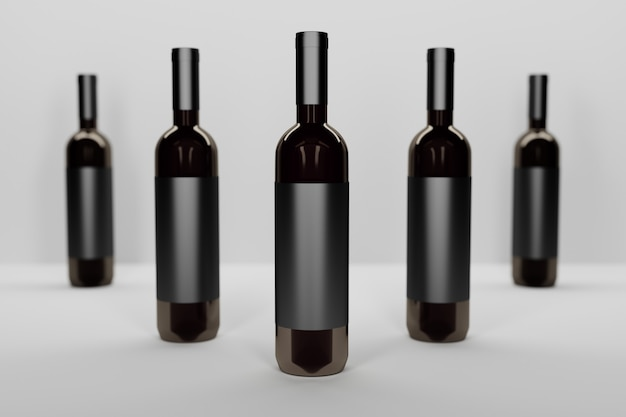 Mockup template with a row of five dark glass vine bottles on white