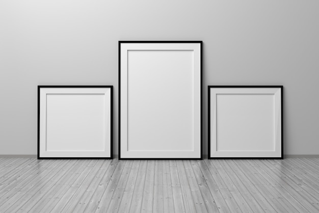 部屋の床に立っている3つのフレームの正方形とa4形式のモックアップテンプレート。 3dイラスト。