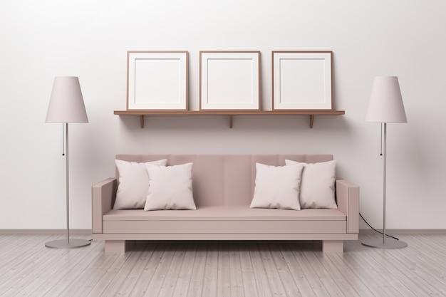소파와 두 개의 샹들리에가있는 거실의 선반에 세 개의 사각형 프레임이있는 모형 템플릿. 3d 그림.