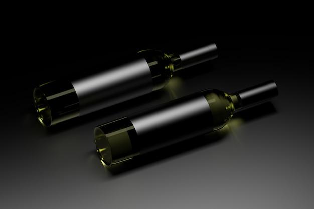 Шаблон макета с двумя винными бутылками с темными блестящими пустыми этикетками на темноте. 3d иллюстрации.