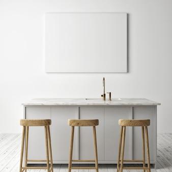 Макет кухни с горизонтальным пустым плакатом, скандинавский дизайн, 3d визуализация, 3d иллюстрация