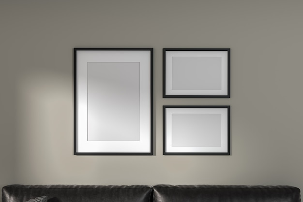 가벼운 벽에 세 개의 프레임을 만들고 소파를 올려보세요. 현대 최소한의 스타일. 3d 렌더링입니다.