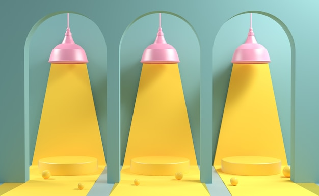 Mockup three stage in yellow hilight with pink lamp