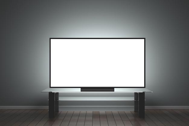 모형 tv. 유리 테이블 위의 어두운 방에 있는 대형 lcd tv. 3d 렌더링.