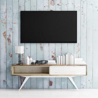 로프트 공간 푸른 나무 배경에 테이블에 모형 tv 패널