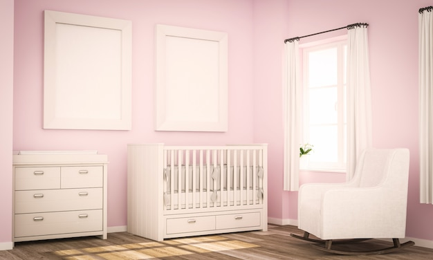 Mockup of two blank frames on baby room pink wall