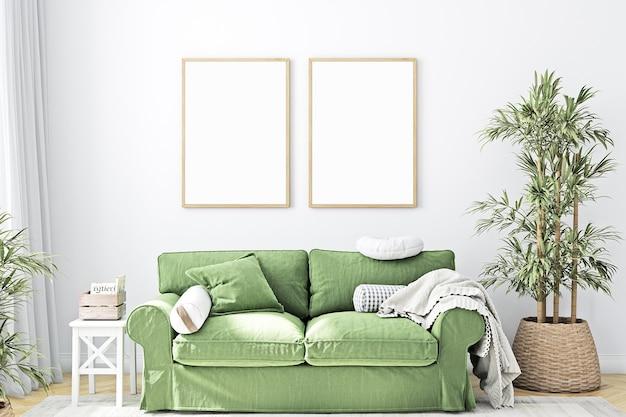 모형 두 프레임과 녹색 소파