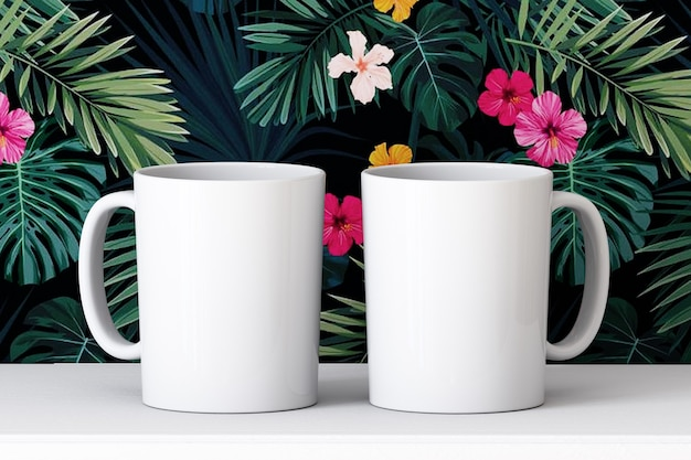 Mockup of two white cups on a white table