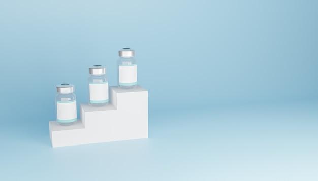 연단과 copyspace에 빈 레이블이있는 모형 백신 병. 3d 렌더링