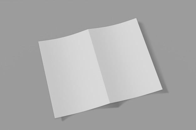 이랑 세로 책자, 브로셔, 부드러운 커버와 현실적인 그림자와 회색 배경에 고립 된 초대. 3d 렌더링. 프리미엄 사진