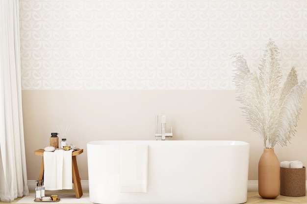 Mockup wall in the bathroom in boho style
