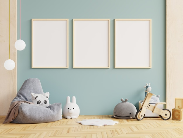 Mockup wall in the children's room, live room interior on wall blue color background.3d rendering