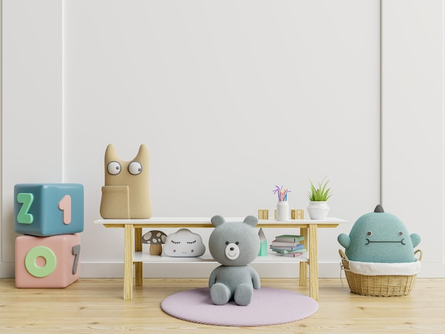Mockup of wall in a children's room with doll on light white backdrop.3d rendering
