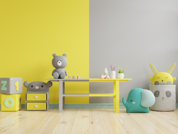 Mockup wall in the children's room on yellow illuminating and ultimate gray wall background.3d rendering