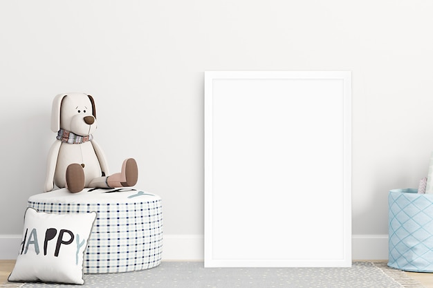 Mockup wall in the childrens room on wall beige colors