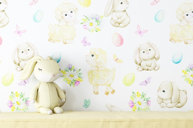 Mockup wall in the childrens room on wallpaper kids background