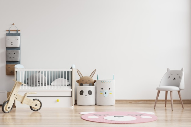Макет стены в детской комнате на фоне стены белого цвета. 3d визуализация