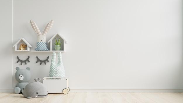 벽 흰색 색상 배경에 어린이 방에 모형 벽.