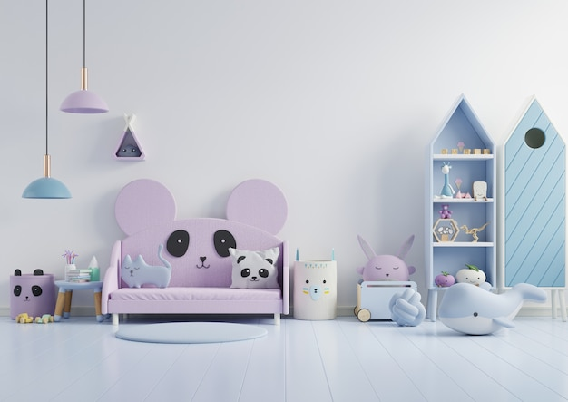 壁の白い色の背景に子供部屋のモックアップ壁