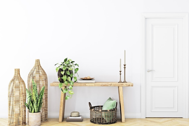 Mockup wall in theliving room in boho style