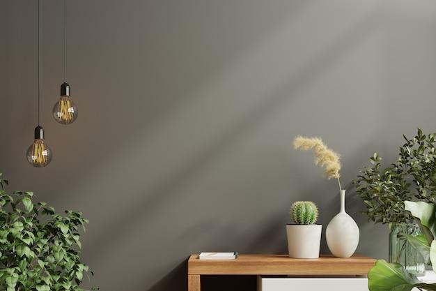緑の植物、黒い壁と棚のモックアップ壁。3dレンダリング Premium写真