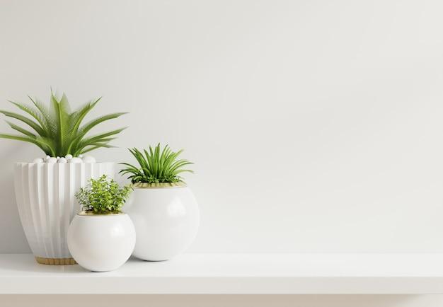 선반에 식물이있는 모형 벽
