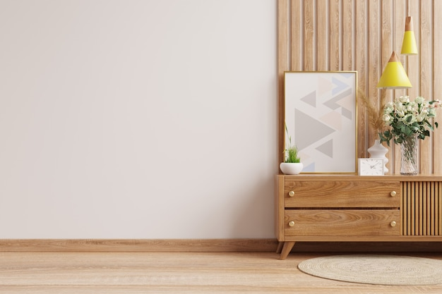 Mockup wall on the wooden cabinet with beautiful plants.3d rendering